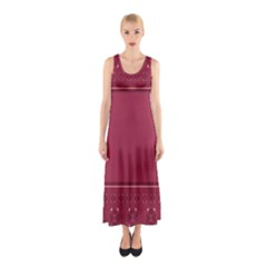 Heart Pattern Background In Dark Pink Sleeveless Maxi Dress