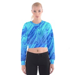 Vintage Pattern Background Wallpaper Women s Cropped Sweatshirt