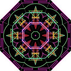 Drawing Of A Color Mandala On Black Folding Umbrellas