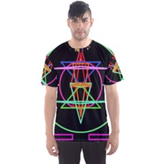 Drawing Of A Color Mandala On Black Men s Sport Mesh Tee