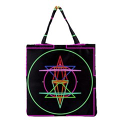 Drawing Of A Color Mandala On Black Grocery Tote Bag