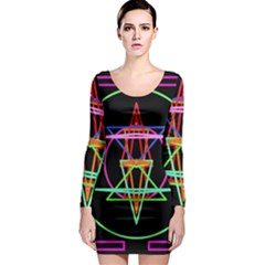 Drawing Of A Color Mandala On Black Long Sleeve Bodycon Dress