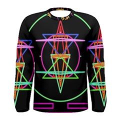 Drawing Of A Color Mandala On Black Men s Long Sleeve Tee