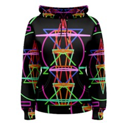 Drawing Of A Color Mandala On Black Women s Pullover Hoodie