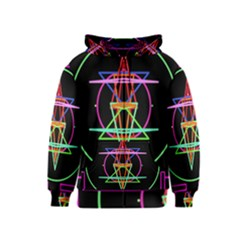 Drawing Of A Color Mandala On Black Kids  Zipper Hoodie