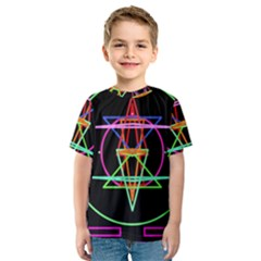 Drawing Of A Color Mandala On Black Kids  Sport Mesh Tee