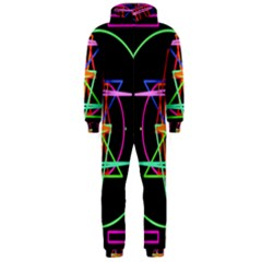 Drawing Of A Color Mandala On Black Hooded Jumpsuit (Men)