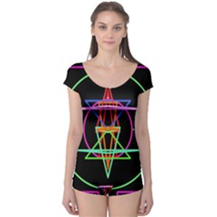 Drawing Of A Color Mandala On Black Boyleg Leotard