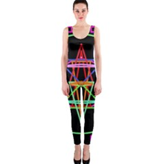 Drawing Of A Color Mandala On Black Onepiece Catsuit