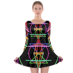 Drawing Of A Color Mandala On Black Long Sleeve Skater Dress