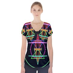 Drawing Of A Color Mandala On Black Short Sleeve Front Detail Top