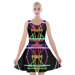 Drawing Of A Color Mandala On Black Velvet Skater Dress
