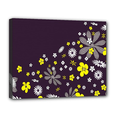 Vintage Retro Floral Flowers Wallpaper Pattern Background Canvas 14  X 11