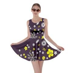 Vintage Retro Floral Flowers Wallpaper Pattern Background Skater Dress
