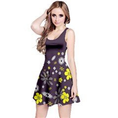 Vintage Retro Floral Flowers Wallpaper Pattern Background Reversible Sleeveless Dress