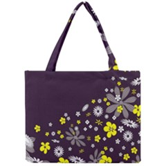 Vintage Retro Floral Flowers Wallpaper Pattern Background Mini Tote Bag
