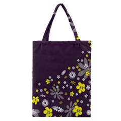 Vintage Retro Floral Flowers Wallpaper Pattern Background Classic Tote Bag
