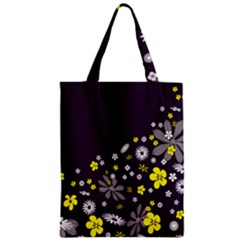 Vintage Retro Floral Flowers Wallpaper Pattern Background Zipper Classic Tote Bag