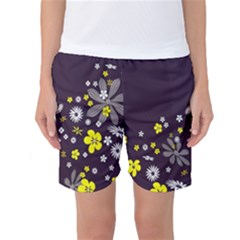 Vintage Retro Floral Flowers Wallpaper Pattern Background Women s Basketball Shorts