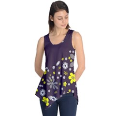 Vintage Retro Floral Flowers Wallpaper Pattern Background Sleeveless Tunic
