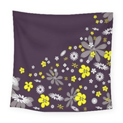 Vintage Retro Floral Flowers Wallpaper Pattern Background Square Tapestry (large)