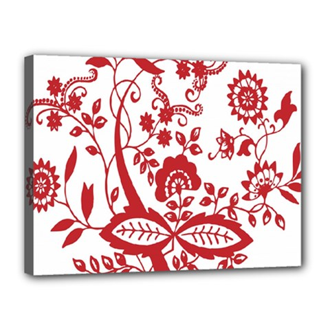 Red Vintage Floral Flowers Decorative Pattern Clipart Canvas 16  X 12