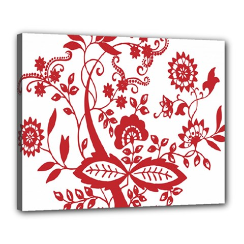 Red Vintage Floral Flowers Decorative Pattern Clipart Canvas 20  x 16