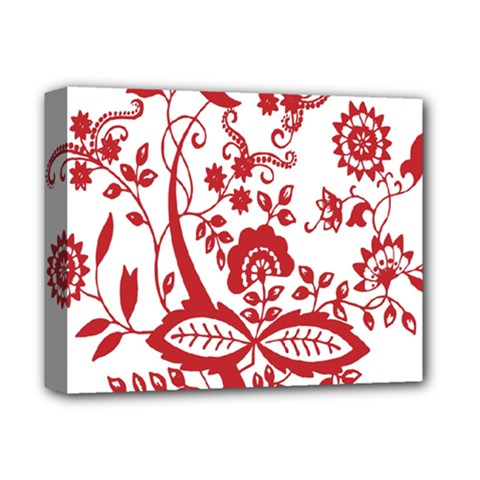 Red Vintage Floral Flowers Decorative Pattern Clipart Deluxe Canvas 14  x 11