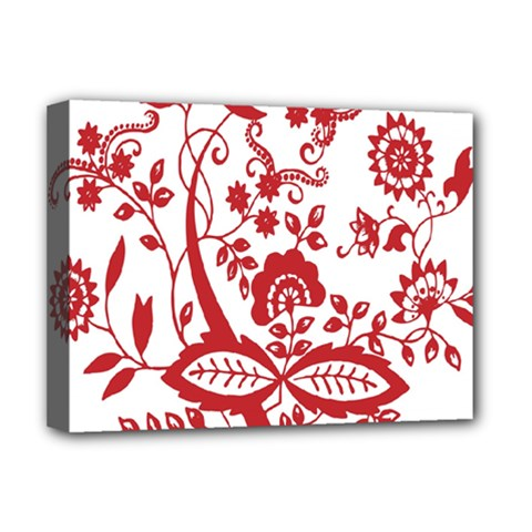 Red Vintage Floral Flowers Decorative Pattern Clipart Deluxe Canvas 16  X 12