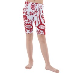 Red Vintage Floral Flowers Decorative Pattern Clipart Kids  Mid Length Swim Shorts