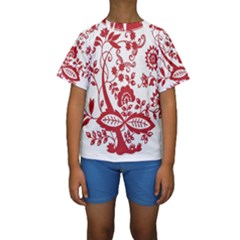 Red Vintage Floral Flowers Decorative Pattern Clipart Kids  Short Sleeve Swimwear