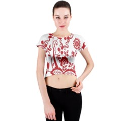Red Vintage Floral Flowers Decorative Pattern Clipart Crew Neck Crop Top