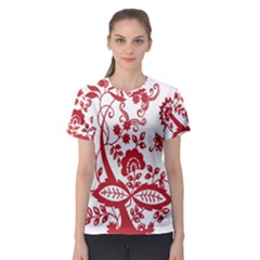 Red Vintage Floral Flowers Decorative Pattern Clipart Women s Sport Mesh Tee