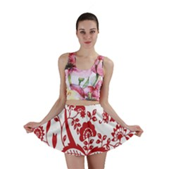 Red Vintage Floral Flowers Decorative Pattern Clipart Mini Skirt