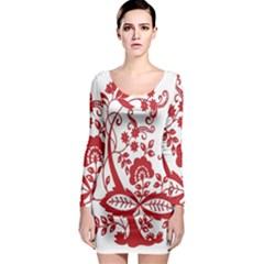 Red Vintage Floral Flowers Decorative Pattern Clipart Long Sleeve Bodycon Dress