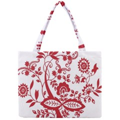 Red Vintage Floral Flowers Decorative Pattern Clipart Mini Tote Bag