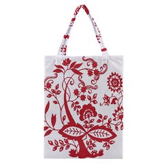 Red Vintage Floral Flowers Decorative Pattern Clipart Classic Tote Bag