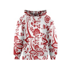 Red Vintage Floral Flowers Decorative Pattern Clipart Kids  Pullover Hoodie