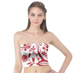 Red Vintage Floral Flowers Decorative Pattern Clipart Tube Top
