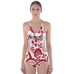 Red Vintage Floral Flowers Decorative Pattern Clipart Cut-Out One Piece Swimsuit