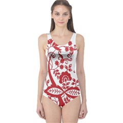 Red Vintage Floral Flowers Decorative Pattern Clipart One Piece Swimsuit