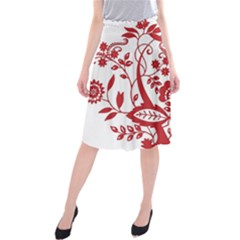 Red Vintage Floral Flowers Decorative Pattern Clipart Midi Beach Skirt