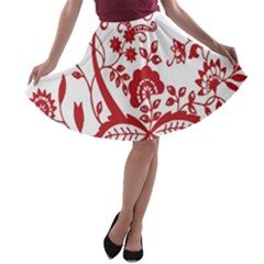 Red Vintage Floral Flowers Decorative Pattern Clipart A-line Skater Skirt