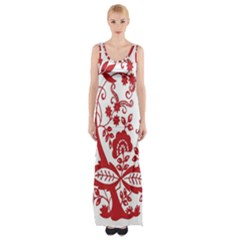 Red Vintage Floral Flowers Decorative Pattern Clipart Maxi Thigh Split Dress