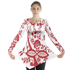 Red Vintage Floral Flowers Decorative Pattern Clipart Long Sleeve Tunic