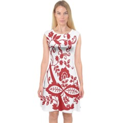 Red Vintage Floral Flowers Decorative Pattern Clipart Capsleeve Midi Dress