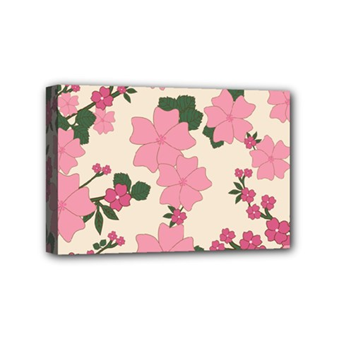 Vintage Floral Wallpaper Background In Shades Of Pink Mini Canvas 6  X 4