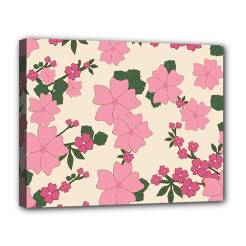 Vintage Floral Wallpaper Background In Shades Of Pink Canvas 14  x 11