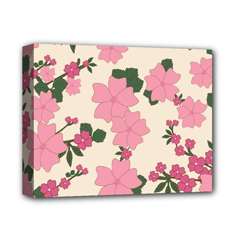 Vintage Floral Wallpaper Background In Shades Of Pink Deluxe Canvas 14  X 11