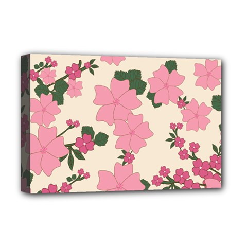 Vintage Floral Wallpaper Background In Shades Of Pink Deluxe Canvas 18  X 12